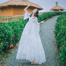 Пикантные открытые белые Кружево платье Для женщин летние Высокая талия с короткими рукавами платье с вышивкой Элегантные пляжное длинное платье vestidos F28