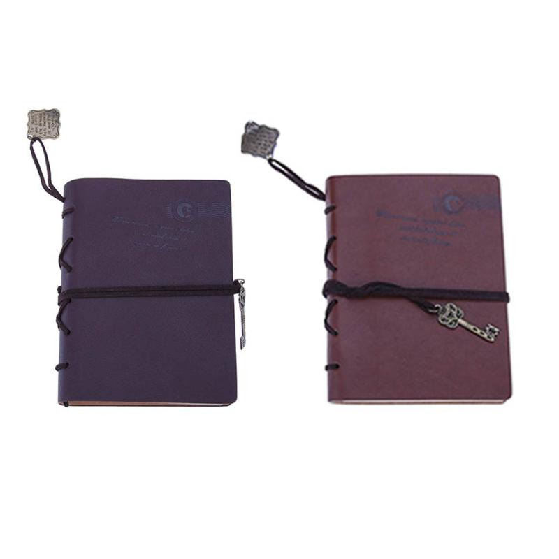 Vintage PU Leather Diary Notebook Retro Kraft Paper Key String Note Book Stationery Gift Traveler Journal Notepad Sketchbook