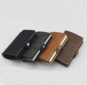 RFID бизнес держатель кредитной карты для мужчин многофункциональный автоматический алюминиевый сплав кожаный чехол для карт мини кошелек Тонкий кошелек для монет