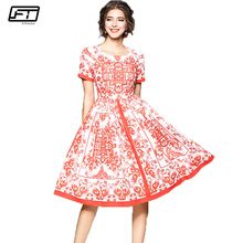 Fitaylor Summer Print Floral Vintage Women Dress Casual Sexy Evening Party Dresses Square Collar Short Sleeve A-line Dress 2018