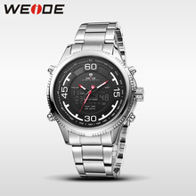купить WEIDE genuine sport men watch stainless steelin quartz watches water resistant analog automatic watch clock business men watches по цене 1382.08 рублей