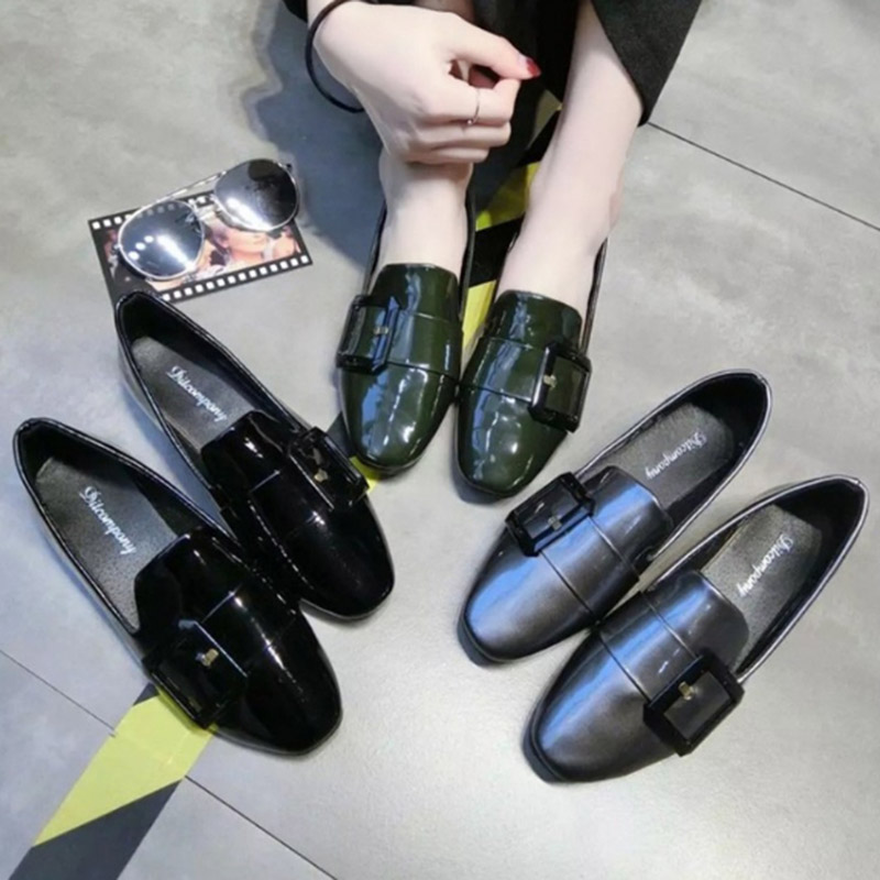 2017 Summer New Arrival Women Fashion Patent Leather Flats Single Shoes Square Toe Buckle Design Loafers  Work Shoes Size 35-40 plue size 34 49 spring summer high quality flats women shoes patent leather girls pointed toe fashion casual shoes woman flats