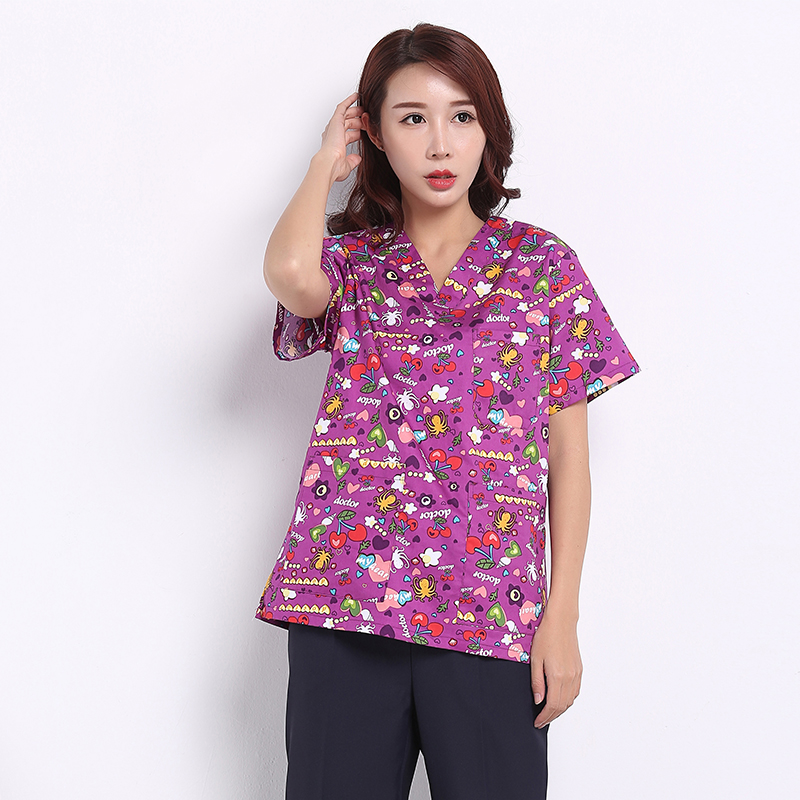 Doctor wash clothes surgical clothing cotton printing pet doctor nurse overalls brush hand clothing men and women isolation coat