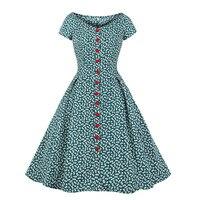 Women Summer Rockabilly Vintage Dresses 50s 60s Short Sleeve Flower Print Retro Dress Robe Pinup Buttons Tunic Tea Party Dresses