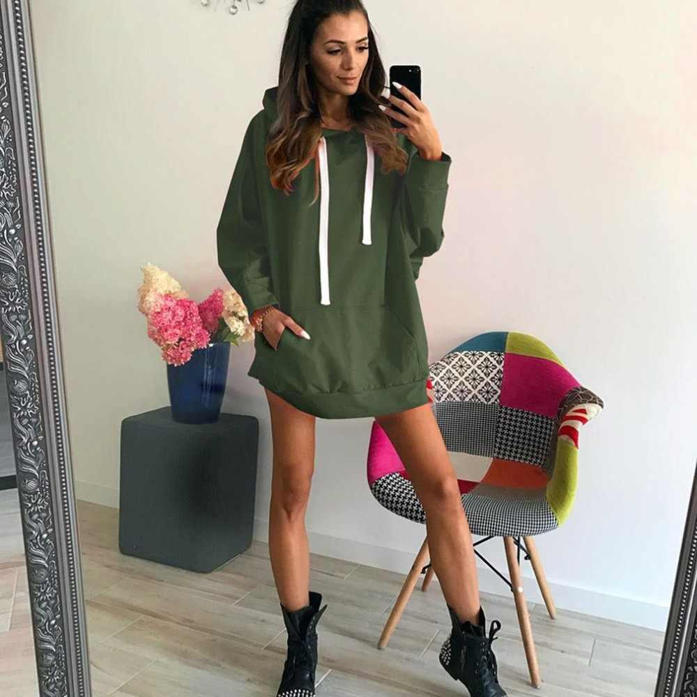 2018 하라주쿠 레이디 롱 스웨터 가을 후드 긴 소매 느슨한 여성 스웨터 슬림 재킷 폭격기 풀오버 후드 코트