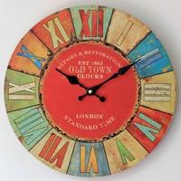 30CM Red Roman Wall Clock Modern design 1863 OLD TOWN Circular Clocks Gifts Crafts Home Decor