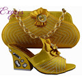 African Popular high heels corresponding Italian shoes rhinestone bridal bag and bag set fast shipping yellow  GF51 GF51