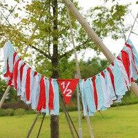 HAOCHU 2nd Baby Highchair Buntings Carriage Rag Garlands Handmade Happy Birthday Banner Tassel Girl Boy Kids