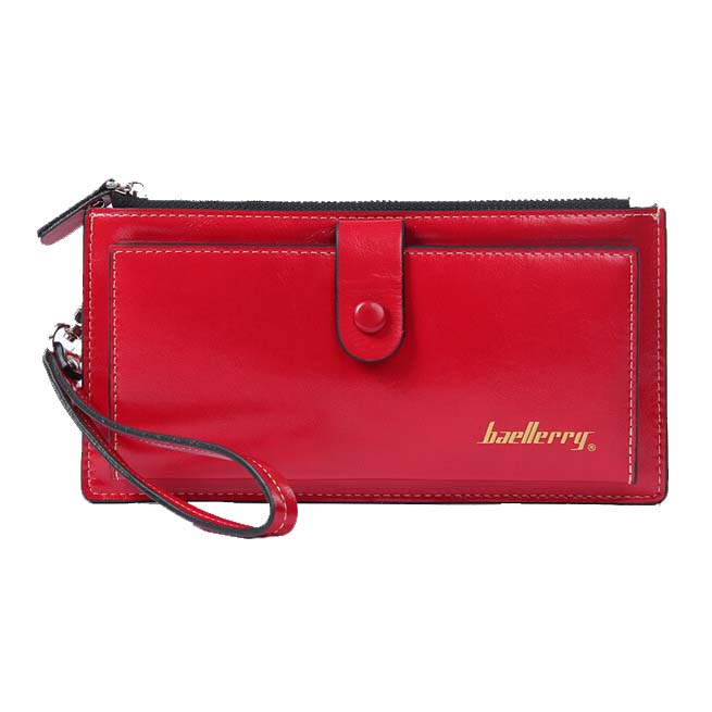 Baellerry Female Leather Hand Bag Fashion Wallets Women Coin Purses Wristlet Bags With Strap, Red women genuine leather character embossed day clutches wristlet long wallets chains hand bag female shoulder clutch crossbody bag