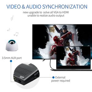 Image 3 - QGeeM VGA zu HDMI Konverter Mit Audio Full HD VGA zu HDMI adapter mit Video Ausgang 1080P HD für PC Laptop HDMI toVGA