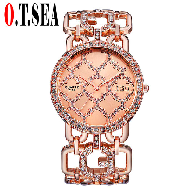 Luxury O.T.SEA Brand Rose Gold Bracelet Watches Women Ladies Crystal Dress Quart