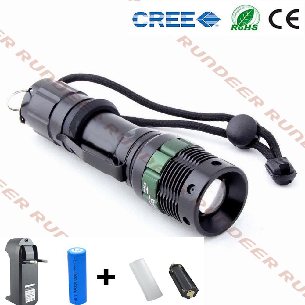 led flashlight cree XML-XPE zoom waterproof lanterna 18650 Rechargeable Battery + charger set torch free shipping crazyfire led flashlight 3t6 3800lm cree xml t6 hunting torch 5 mode 2 18650 4200mah rechargeable battery dual battery charger
