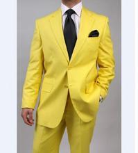 Custom Made Groomsmen Notch Lapel Groom Tuxedos Yellow Mens Suits Wedding Best Man (Jacket+Pants+Tie)