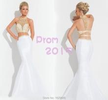 Hot Sexy 2015 Neue Ankunft Zweiteiler Prom Kleider Weiß und Gold Kristall Sparkly Abendkleider 2 stück Abendkleider
