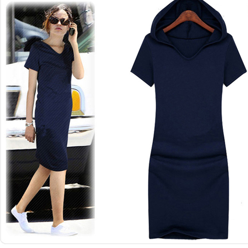 Free Shipping Plus Size XS-10XL 2019 New Fashion Causal Long Knee Length Dress Summer Cotton Stretch Dress WIth A Hood For Women