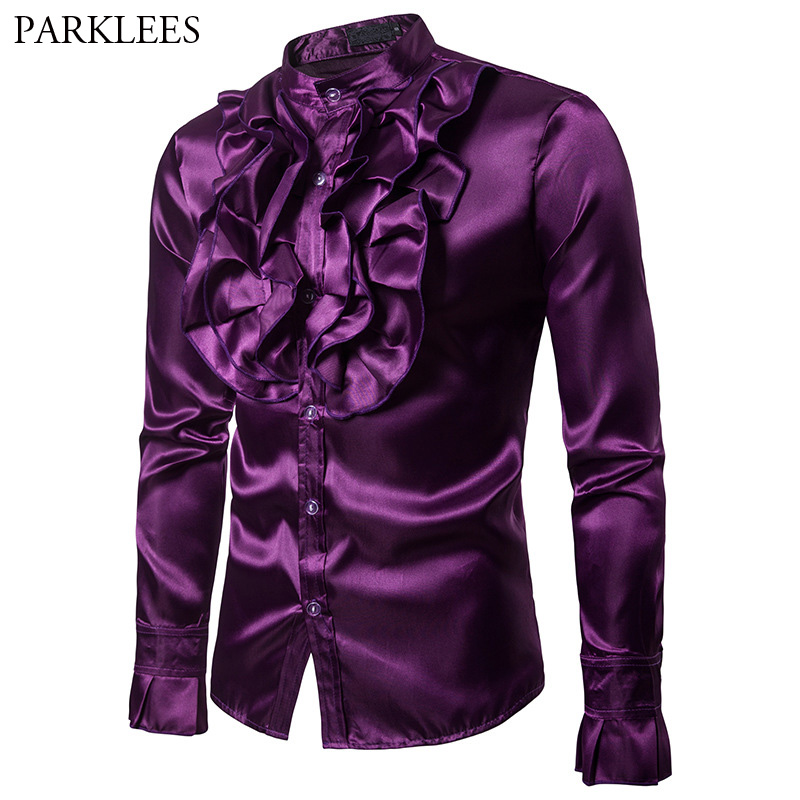 Purple Silk Satin Shirt Men Unique Designe Vintage Wedding Tuxedo Shirt Man Long Sleeve Slim Fit Gothic Shirt Male Chemise Homme