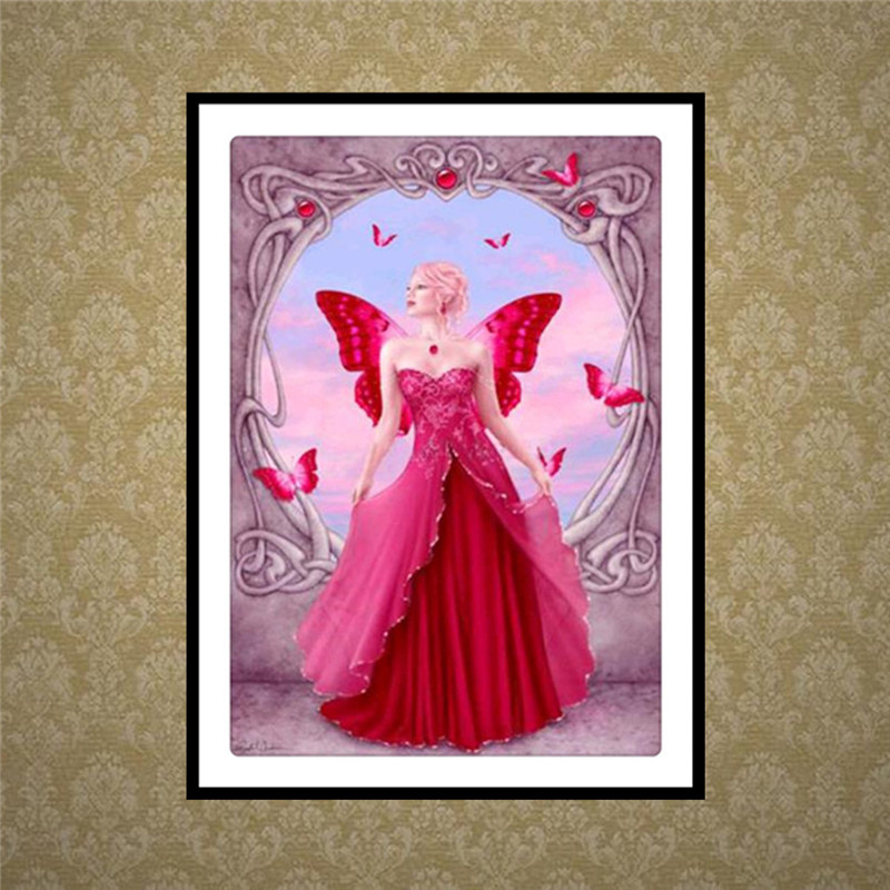 FineTime Full Diamond Embroidery 5D DIY Diamond Painting Butterfly Fairy Embroidery Cross Stitch Mosaic Home Decor in Diamond Painting Cross Stitch from Home Garden