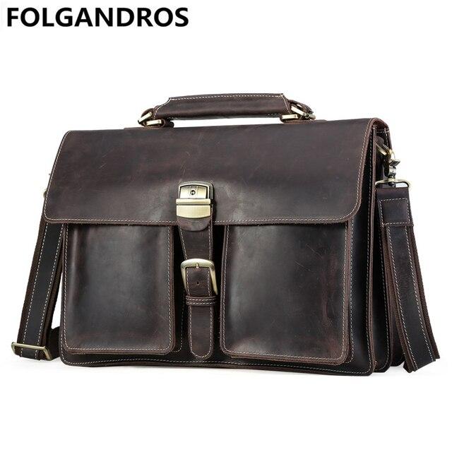 502404faf Men Genuine Leather Briefcase Portfolio Men Vintage Crazy Horse Leather  Messenger Bag High Quality Shoulder Bag Bolsa Masculina
