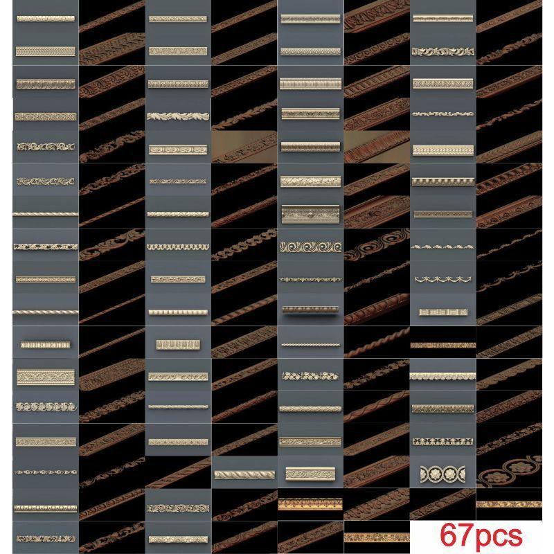 67pcs/set Decor Horizontal 3d Model STL Relief For Cnc STL Format 3d Model For Cnc Stl Relief Artcam Vectric Aspire