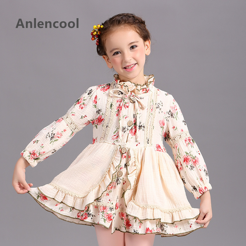 ФОТО Anlencool Girls dress and children's wear brand new long sleeved cotton princess girl clothes High quality children's clothing