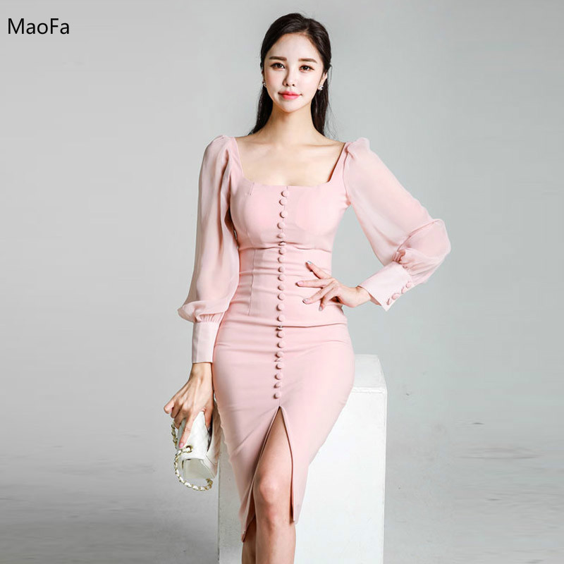 2018 Professional Women Dress Sexy Business Ladies Office Work Winter Formal Dres Long Sleeve Ol Pencil Party Clubwear Dresses