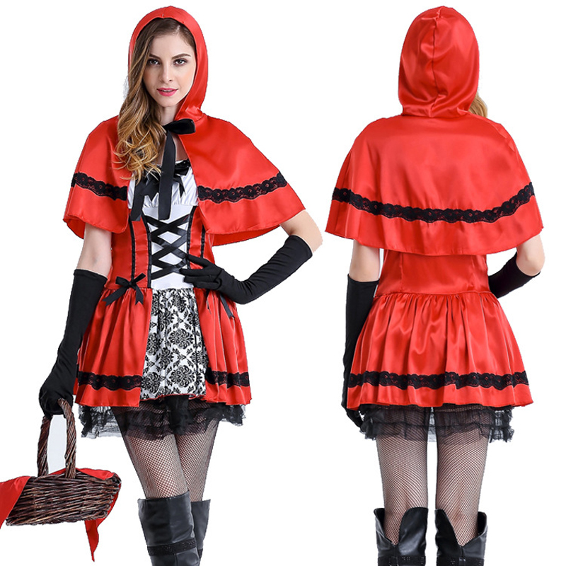 2018 Real High Quality Sexy Cardinal Little Red Riding Hood Costume Small Cap Halloween Costumes For Women Cosplay Party Dress
