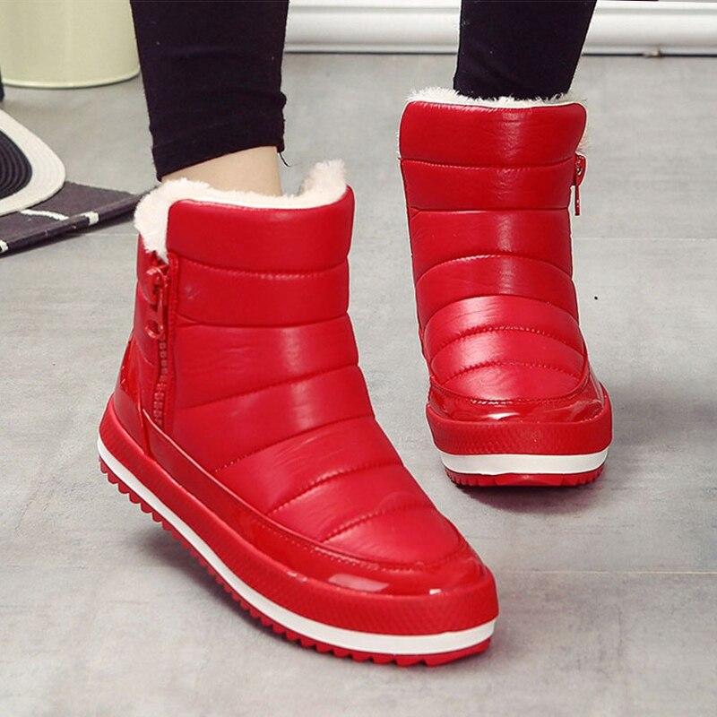Mujeres Botas de Mujer Botas para la nieve Botas de invierno Botas planas de las mujeres impermeable tobillo Botas Mujer Zapatos de 2018 femenina Causal Zapatos negro rojo