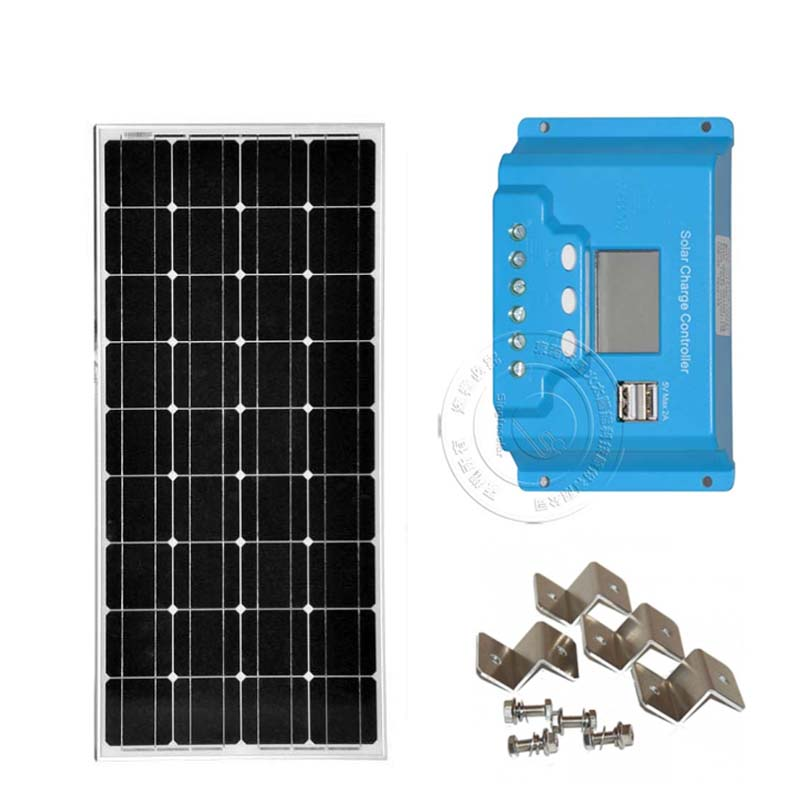 100W Watt 12V Solar Panel PWM 10A Charge Controller Battery Charger Kit Energia Solar Kit Solar Module Mount Z Bracket ggx energy 120 watt portable rv and marine mono folding solar panel kit with 10a solar charge controller