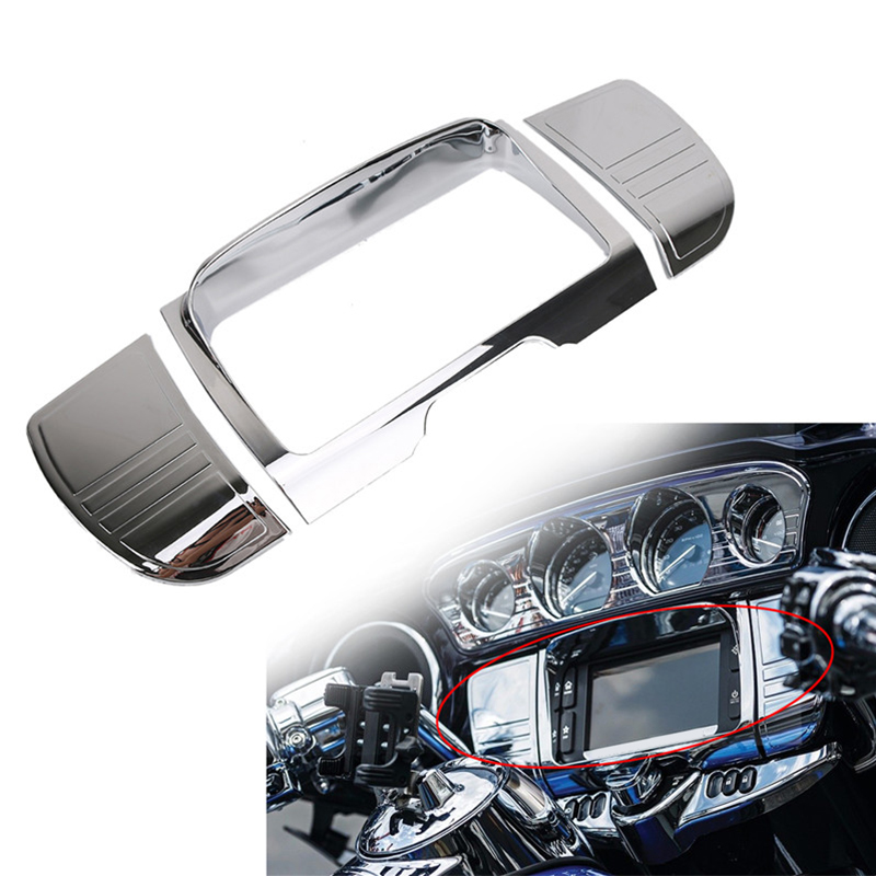 1x Chrome Tri Line Stereo Trim Cover For Harley Touring Electra Street Glide Road King Ultra 2014-2017 C/5