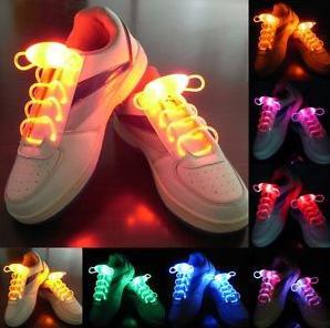 20 шт./лот светодиодные пластиковые спорт Шнурки шнурки мигающей подсветкой палке ремень Bling Шнурки дискотека