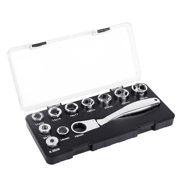 10Pcs 6.35-24mm Socket Adapter CR-V Spanner Auto Repair Tool 16IN1 Multifunctional Activity Ratchet Torque Wrench Set