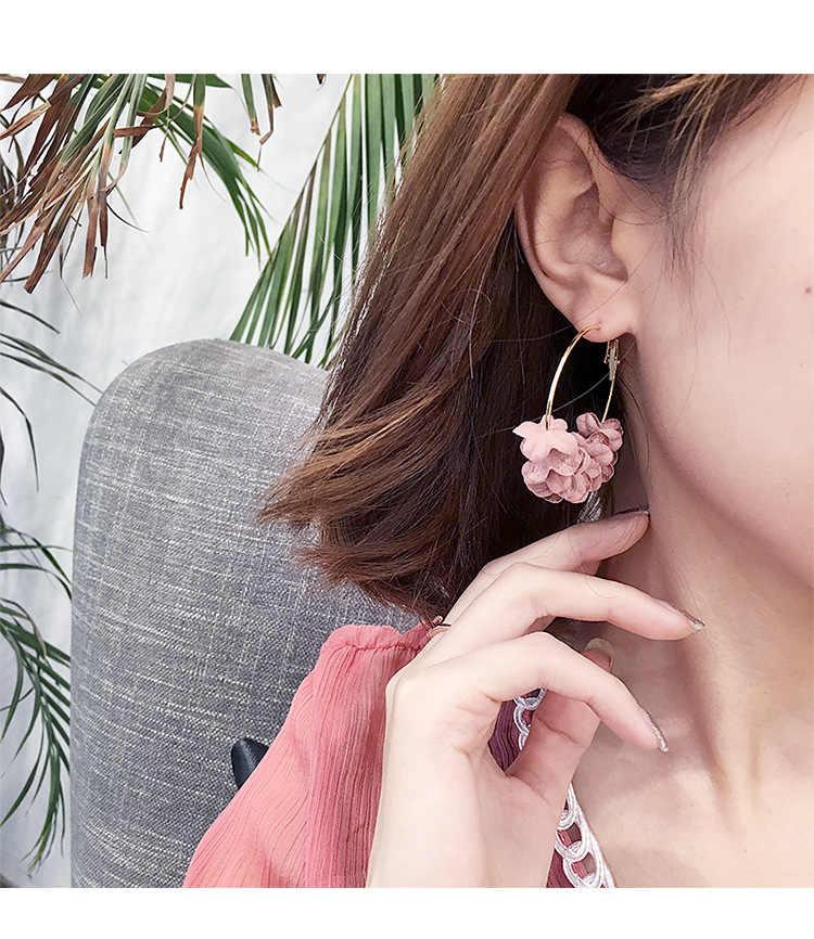 เกาหลีรุ่นยอดนิยมบุคลิกภาพแฟชั่นเครื่องประดับสีแดงสุทธิผ้าดอกไม้ต่างหูยาวต่างหู