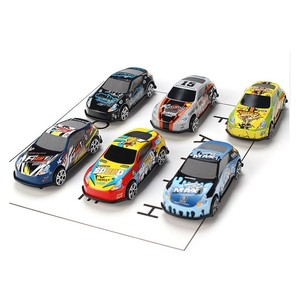 6Pcs Set Toy Racing Car Alloy Iron Shell Taxi Model Inertia Sliding Rail Car Mini Small Gift Toys for Children Boys(China)