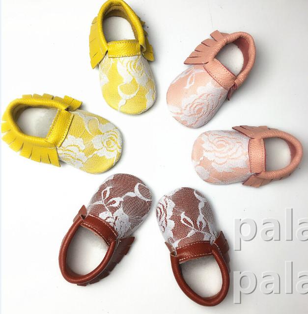 100 par/lote nueva Moda de cuero Genuino Blanco de Encaje Zapatos de Bebé lindos Primeros Caminante Recién Nacido Bebés Suaves Niñas Zapatos de La Princesa