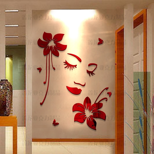 Romantic 3d three dimensional acrylic wall stickers for Acrylic decoration