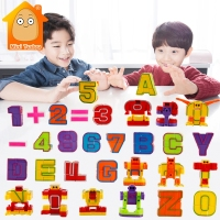 Mini 26PCS English Letters Robot Transformations Puzzle Deformation Alphabet Assembled Kids Educational Toys Gift For Children