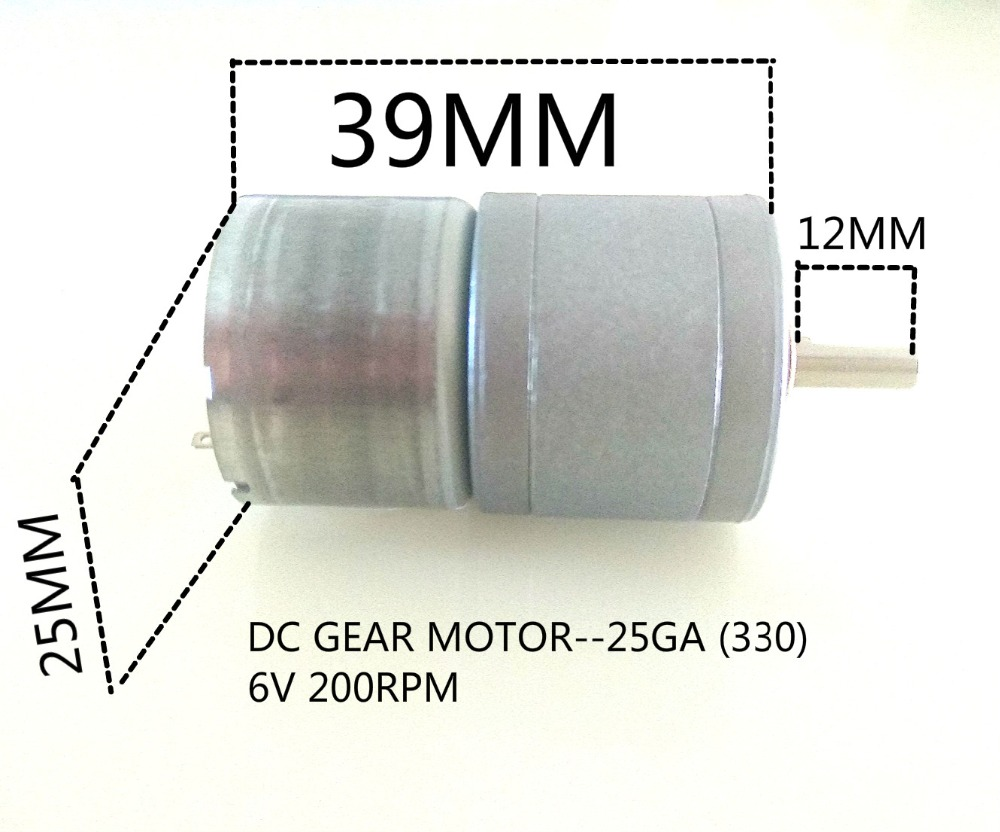 Free shipping DC GEAR MOTOR 25GA 330 6V 200RPM in DC Motor from Home Improvement