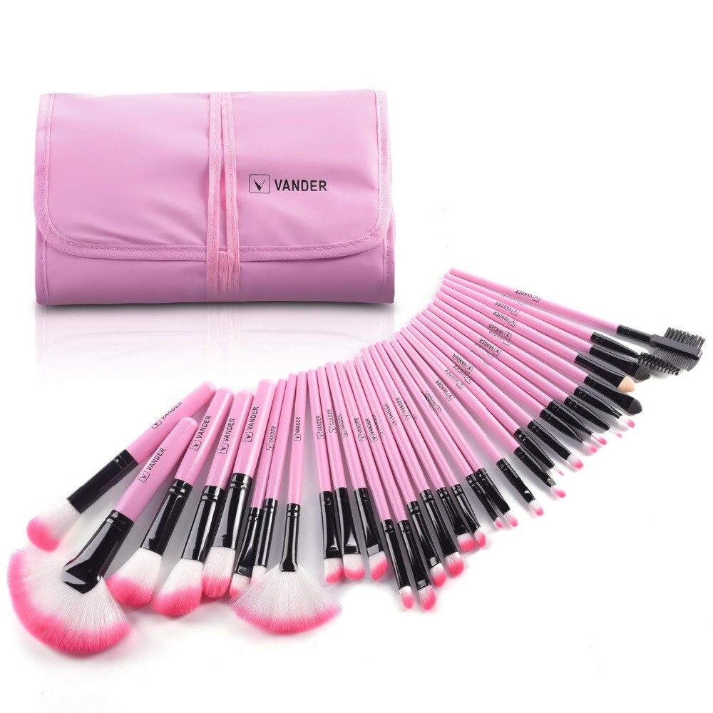 Vander vida 32 pçs pincéis de maquiagem conjunto para as mulheres moda suave rosto lábio sobrancelha sombra compõem conjunto de escova kit + bolsa saco maquiar