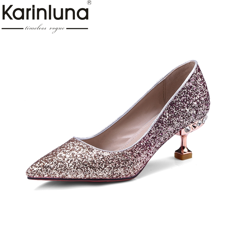 KarinLuna 2018 top quality Women's slip on High Heels Pointed Toe strange style Office Party Pump Shoes Woman large Size 33-40 lapolaka 2018 high quality large size 33 48 slip on thin high heels peep toe shoes woman platform party wedding pump