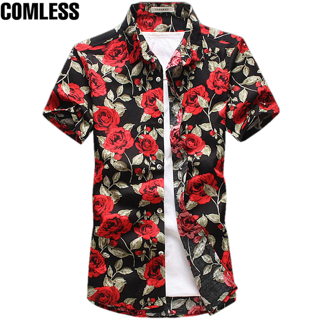 2017 Fashion Cotton Flower Pattern Shirts Men Floral Shirts Short ...