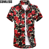 2017 Fashion Cotton Flower Pattern Shirts Men Floral Shirts Short Sleeve Slim Dress Shirt Mens Camisa Masculina Plus Size M 5XL