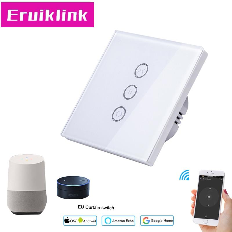 Norme EU/UK Wifi contrôle APP rideau interrupteur panneau de verre tactile rideau interrupteur pour rideau électrique, travailler avec Google home/Alexa