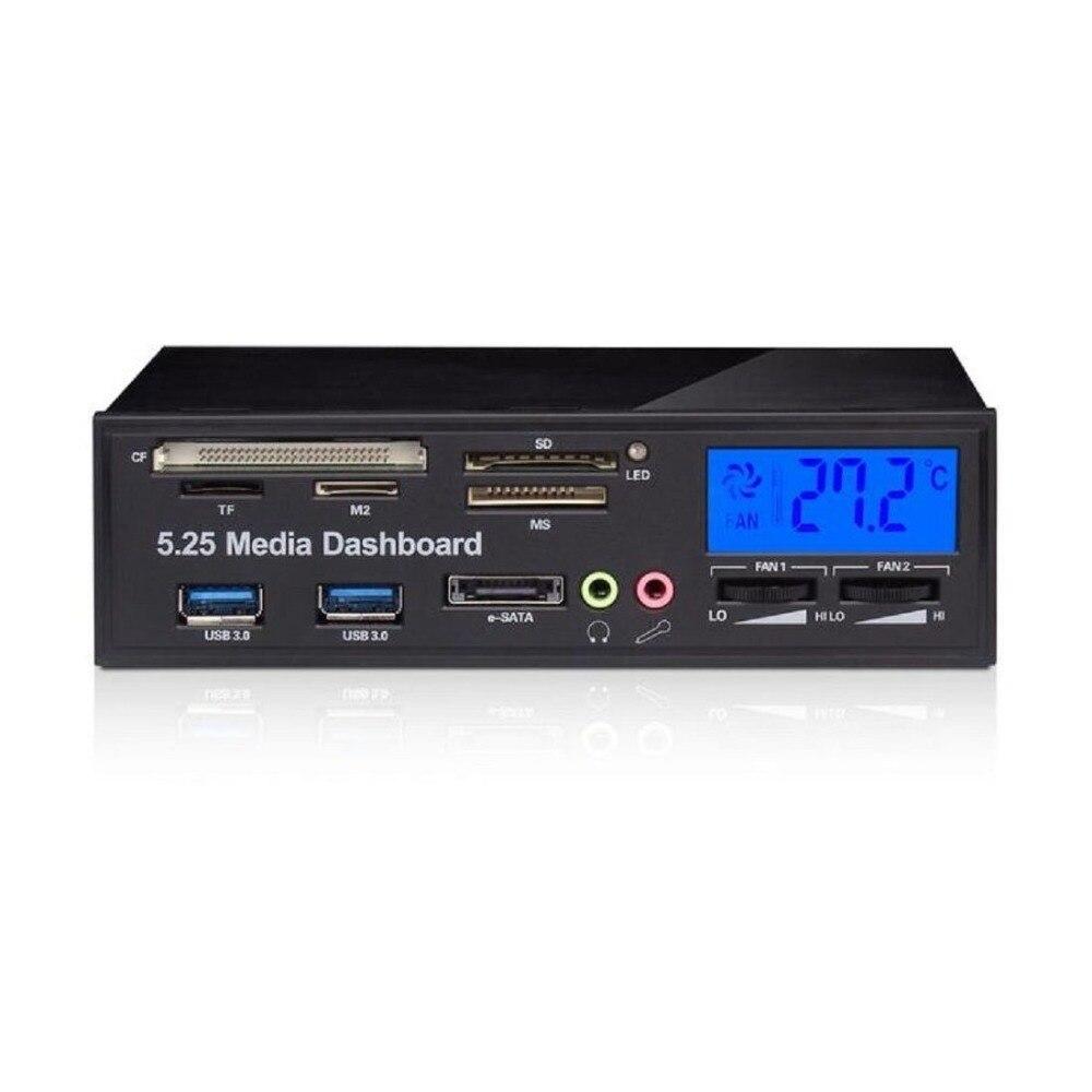 Leitor de Cartão sd para Computador Media Dashboard Multifuncional 3.0 Painel Frontal 3.5mm Áudio E-sata ms cf tf Desktop Estranho 5.25 Usb