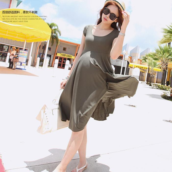 Modal de algodón 8830 2017 ropa de maternidad del verano embarazo con mangas cortas dress dress de una sola pieza de maternidad sobre la de la rodilla completa dress