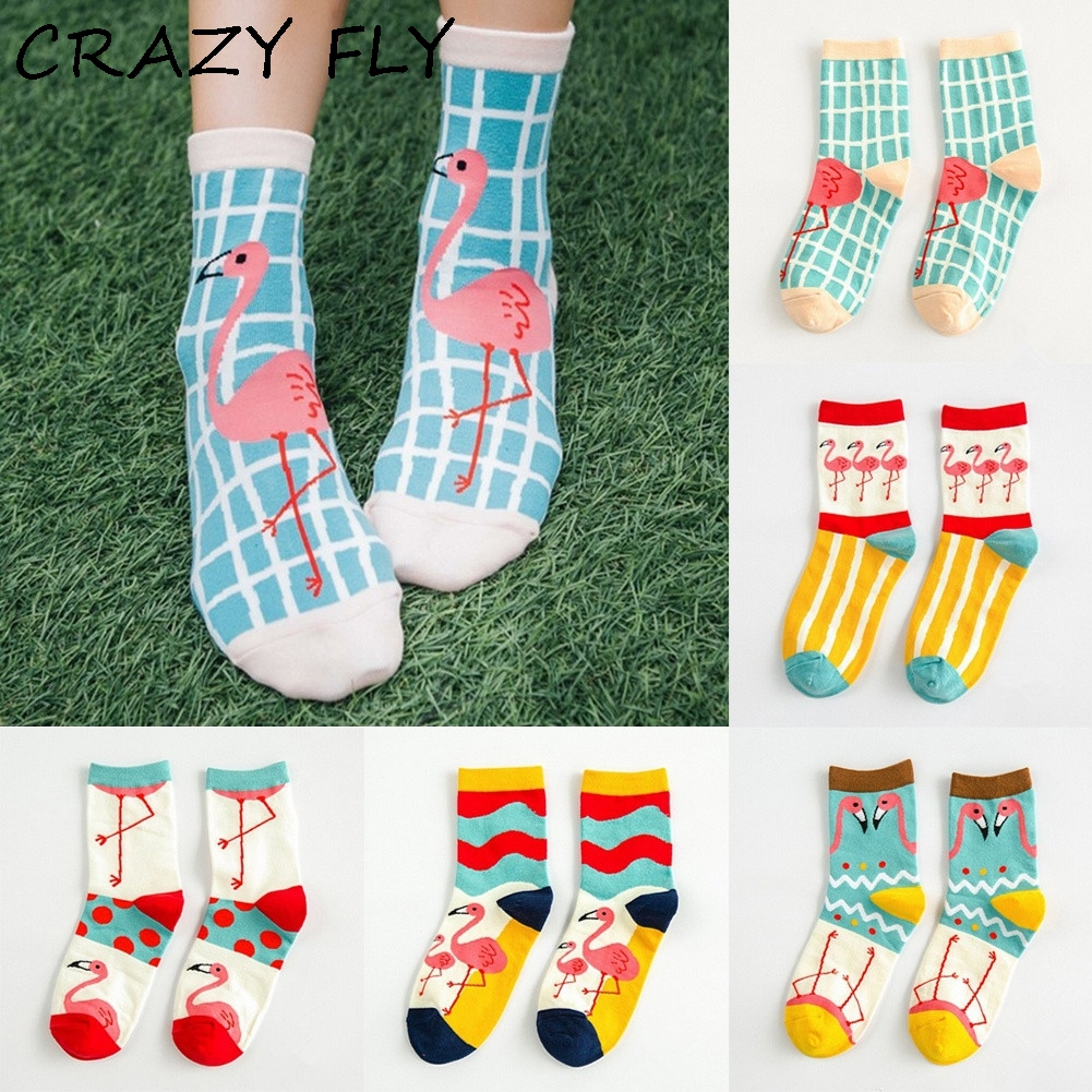CRAZY FLY Fashion Funny   Socks   Cute Flamingo Patterned 3d Striped Ankle Cartoon Cotton   Socks   Women Dress Colorful Happy   Socks