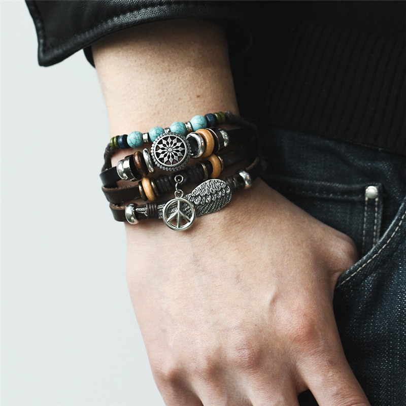 IF-ME-New-Vintage-Wing-Leather-Bracelet-For-Men-Woman-Fashion-Black-Color-Multiple-Braided-Bracelets (1)