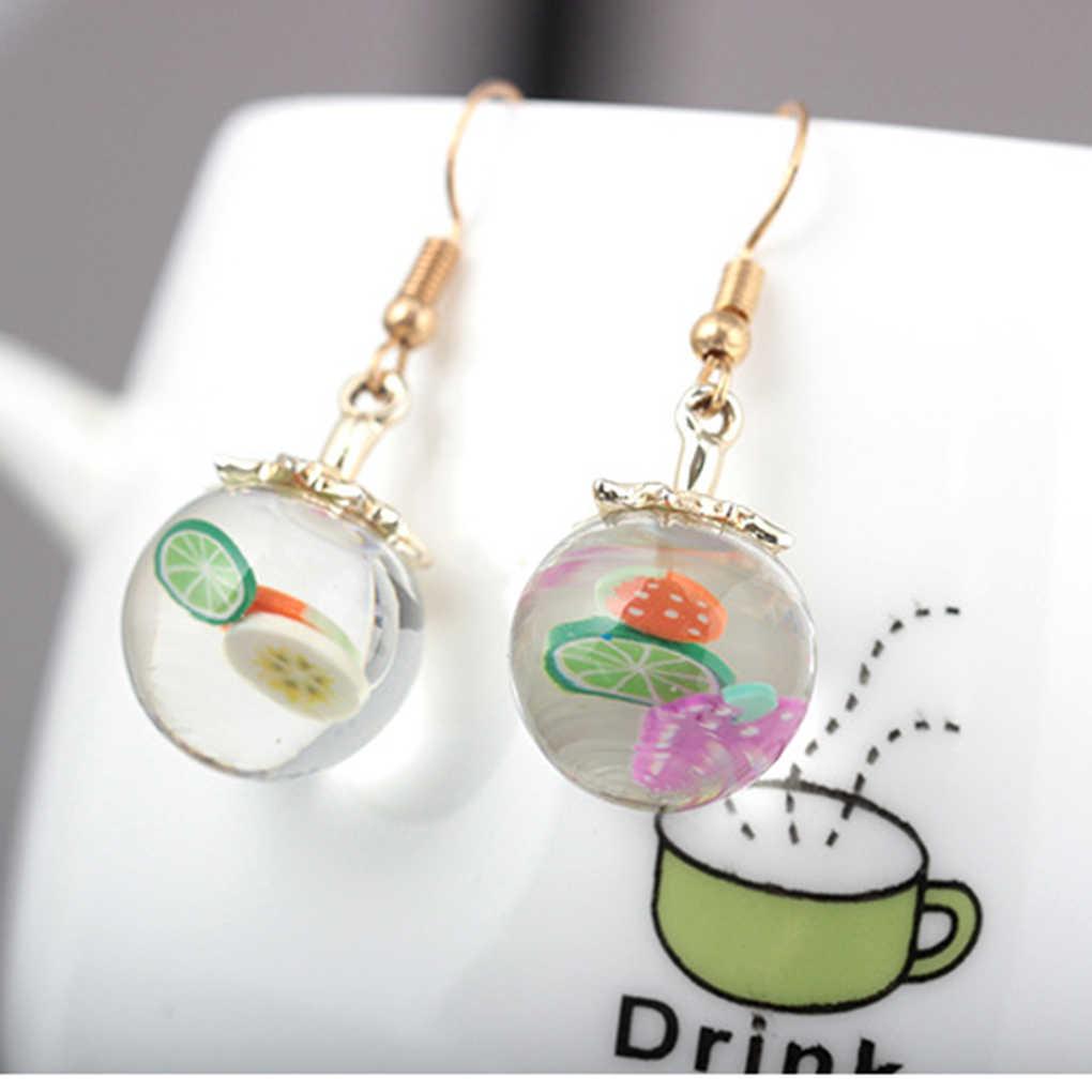 Крошечные фруктовые стеклянные серьги в виде бутылок для девочек Забавные прозрачные Висячие сережки пляжное платье милые серьги-гвоздики