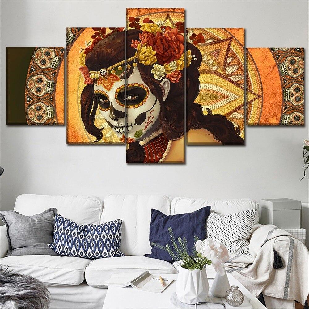 Настенные художественные картины, высокое качество, холст, HD печать, плакаты, Декор, рамки, 5 шт., художественные картины с черепом, Современн...