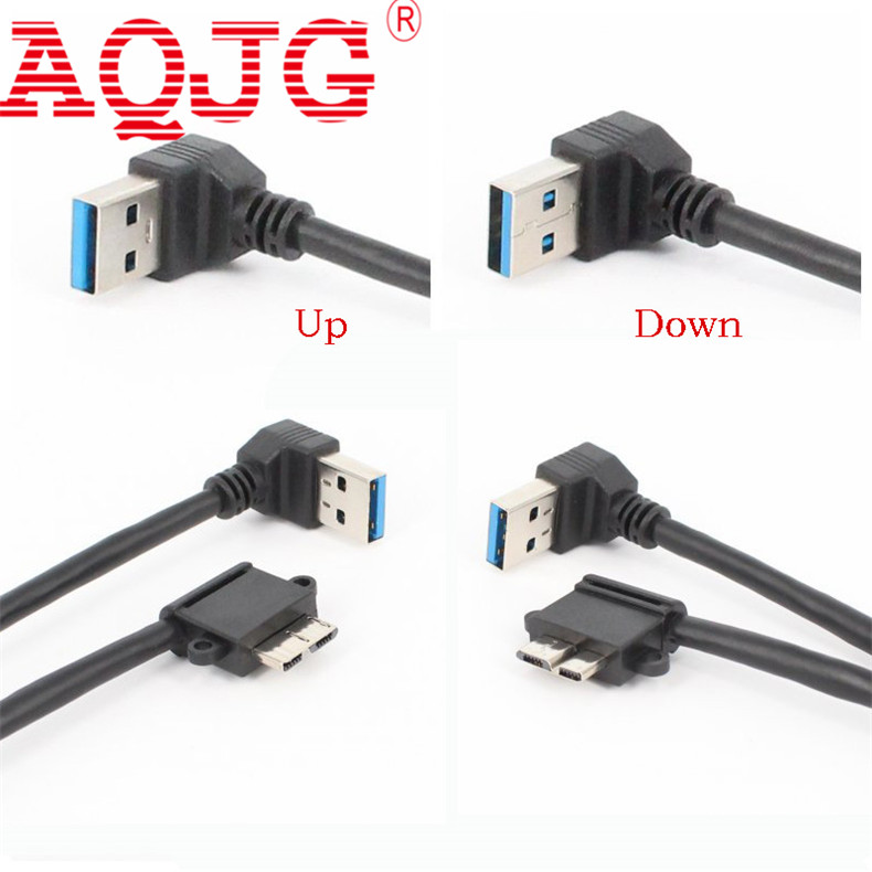 90 Degree USB3.0 Data Charging Cable A Male to Micro B Male Cable USB 3.0 Cable Adapter Right angle For HDD Case Up Down 1 pcs 90 degree right angle direction usb tpye a 5pin right angle micro b male to male adapter data sync charge cable cord