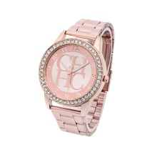 Reloj Mujer Hot New Brand Berömda Ladies Gold Steel Quartz Watch Casual Crystal Rhinestone Armbandsur Relogio Feminino